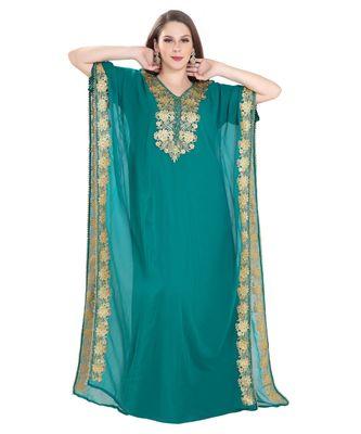 turquoise Georgette embroidered zari work islamic kaftan