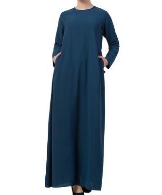teal nida A Line Abaya With Side Pockets