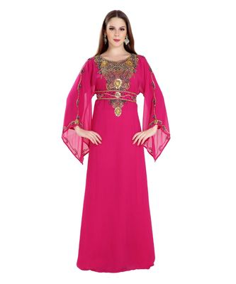 Pink Georgette Embroidered Zari Work Islamic Kaftan