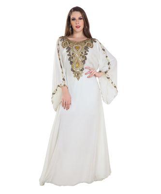 Cream  Georgette embroidered zari work islamic kaftan