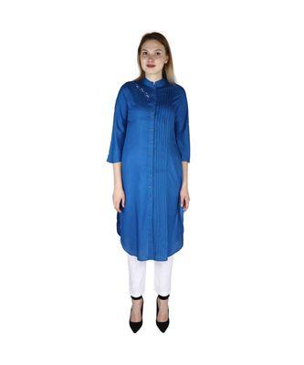 Turquoise printed rayon kurti