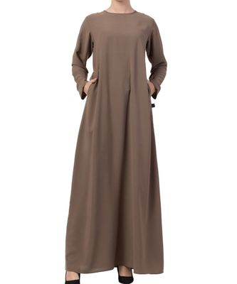 Khaki Nida A Line Abaya With Side Pockets