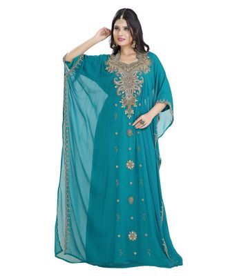 turquoise Georgette embroidered zari work islamic kaftan