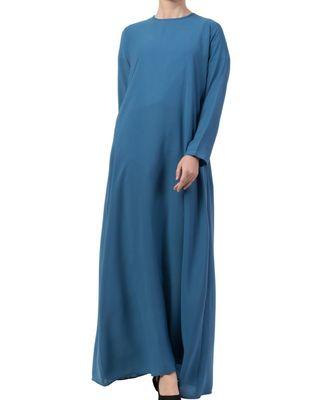 Blue Nida A Line Abaya With Side Pockets