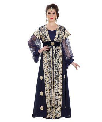 blue Georgette embroidered zari work islamic kaftan
