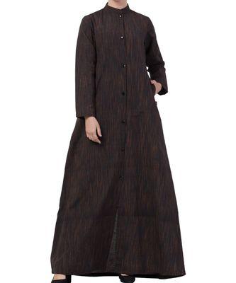 Black Cotton Poly  Khadi Look Abaya Dress