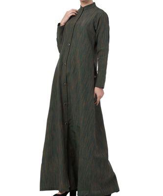Green Cotton Poly  Khadi Look Abaya Dress
