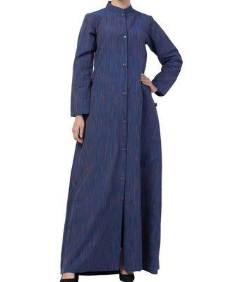 Blue Cotton Poly  Khadi Look Abaya Dress