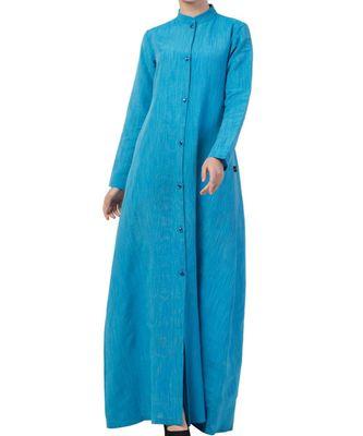 Turquoise cotton poly  Khadi Look Abaya Dress