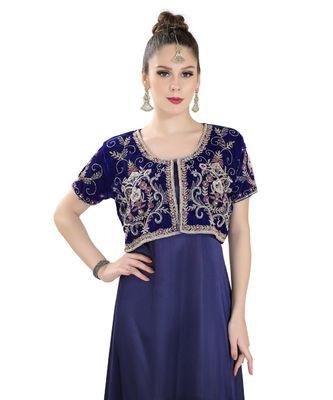 blue velvet embroidered zari work islamic kaftan