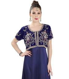 Blue Velvet Embroidered Zari Work Islamic Kaftan