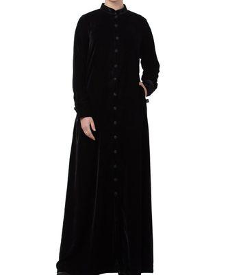 Black Velvet  High Fashion Velvet Abaya Dress