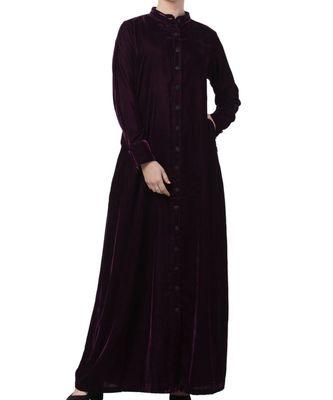 Purple Velvet  High Fashion Velvet Abaya Dress