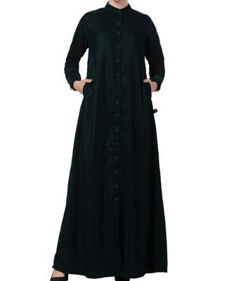 Green Velvet  High Fashion Velvet Abaya Dress