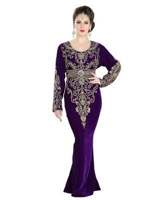 purple Velvet embroidered zari work islamic kaftan