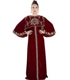 Maroon Velvet Embroidered Zari Work Islamic Kaftan