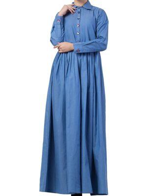 Blue chambray Abaya Like Dress in Chambre Cotton