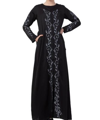 Black Nida Front Open Abaya With Embroidery
