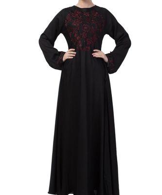 Black Nida Umbrella Style Abaya With Dori Work Embroidery
