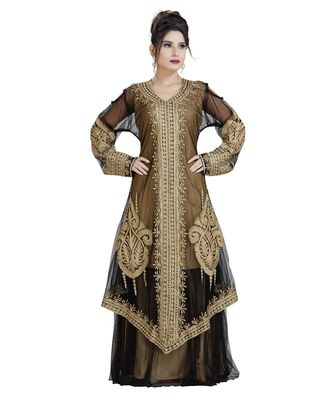 beige Georgette embroidered zari work islamic kaftan