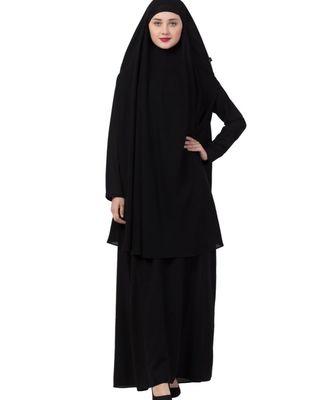 Black nida Abaya Khimar Combo