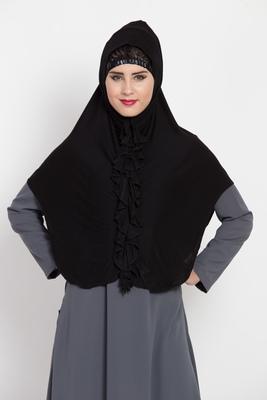 Black Jersey Hijab-Khimar With Ruffles