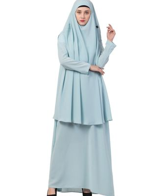 blue nida Abaya Khimar Combo