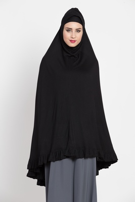 Black Full Size Prayer Hijab Without Sleeves