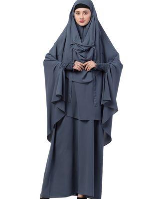 Grey Nida Abaya Khimar Combo