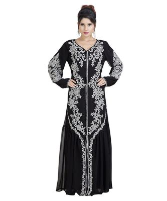 Black Georgette Embroidered Zari Work Islamic Kaftan