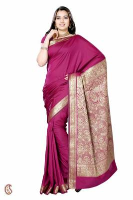 Lovely Magenta saree with Resham pallu