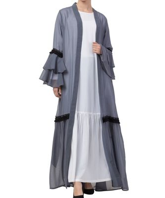 grey nida Abaya Dress And Cardigan Combo