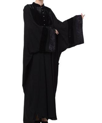 Black nida Premium Kaftan with Black Lace Work