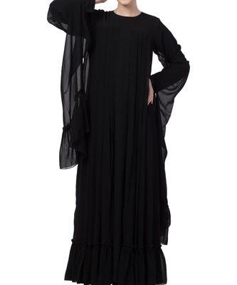 Black nida Designer Abaya Dress in Dual Layer
