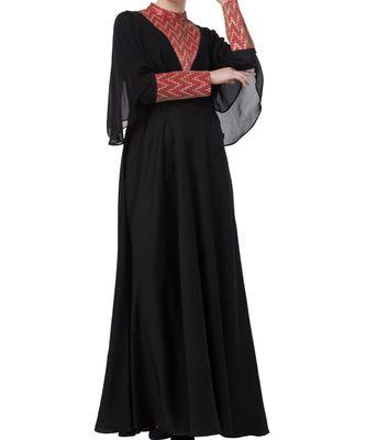 Black Nida Designer Abaya Dress For Special Occasion