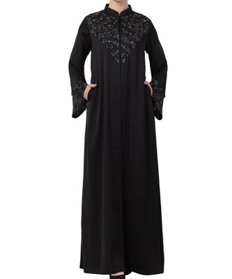 Black nida Occasion Abaya with Hand Work