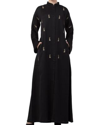 Black nida  Front Open Abaya With Hand Work