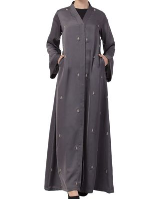 Grey nida  Front Open Abaya With Hand Work