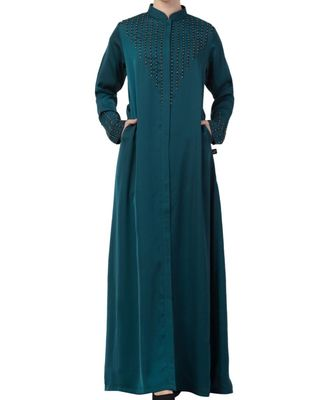 Teal Nida  Front Open Abaya With Hand Work