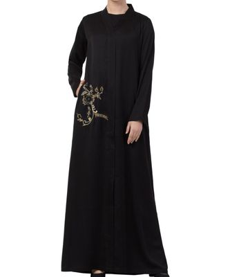 Black nida  Front Open Abaya With Hand Work