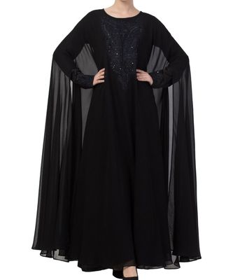 Black nida  Occasion Wear Abaya With Embroidery