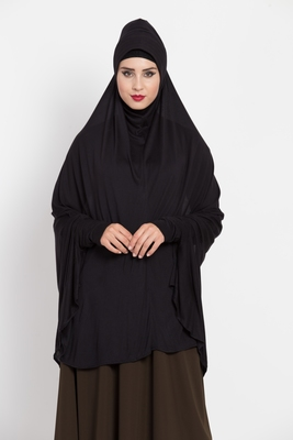 Black Full Size Prayer Hijab With Sleeves