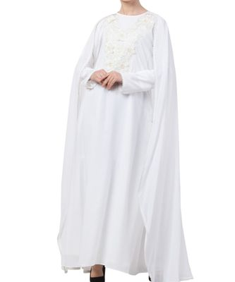 White nida  Abaya With Attached Cape