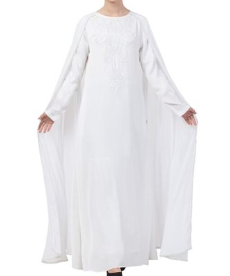 White Nida  Embroidered Abaya With Attached Cape