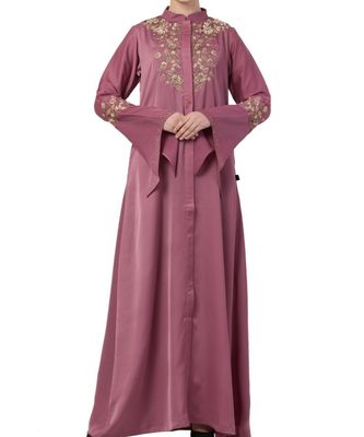 pink nida Luxury Abaya With Golden Wire and Stone Work
