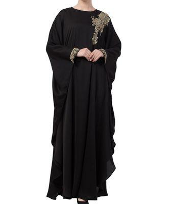 Black nida Luxurious Kaftan Abaya With Wire and Stone Work.