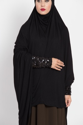 Black Full Size Prayer Hijab With Shimmer Sleeves