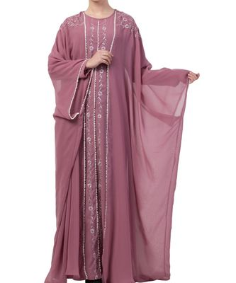 pink nida Premium Abaya in Dual Layer with Hand Embroidery