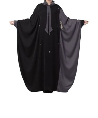 Black Nida Dual Color Kaftan With Hand - Zari & Bead Work