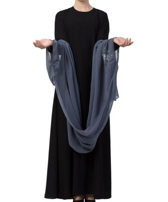 Grey Georgette Instant Hijab With Hand Work
